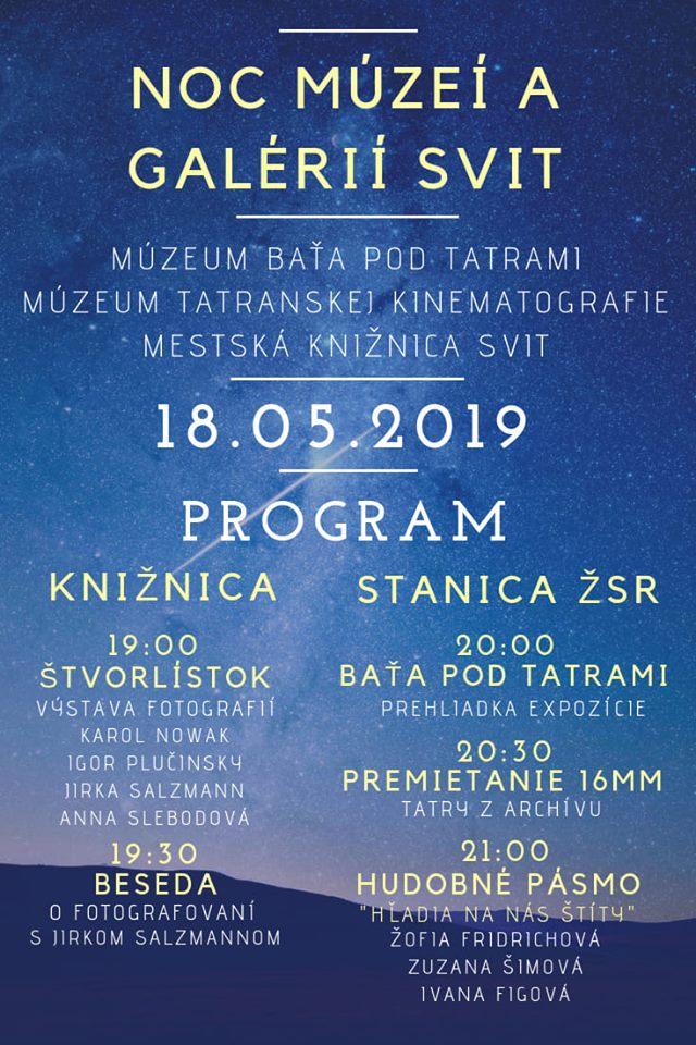 Noc múzeí a galérií Svit