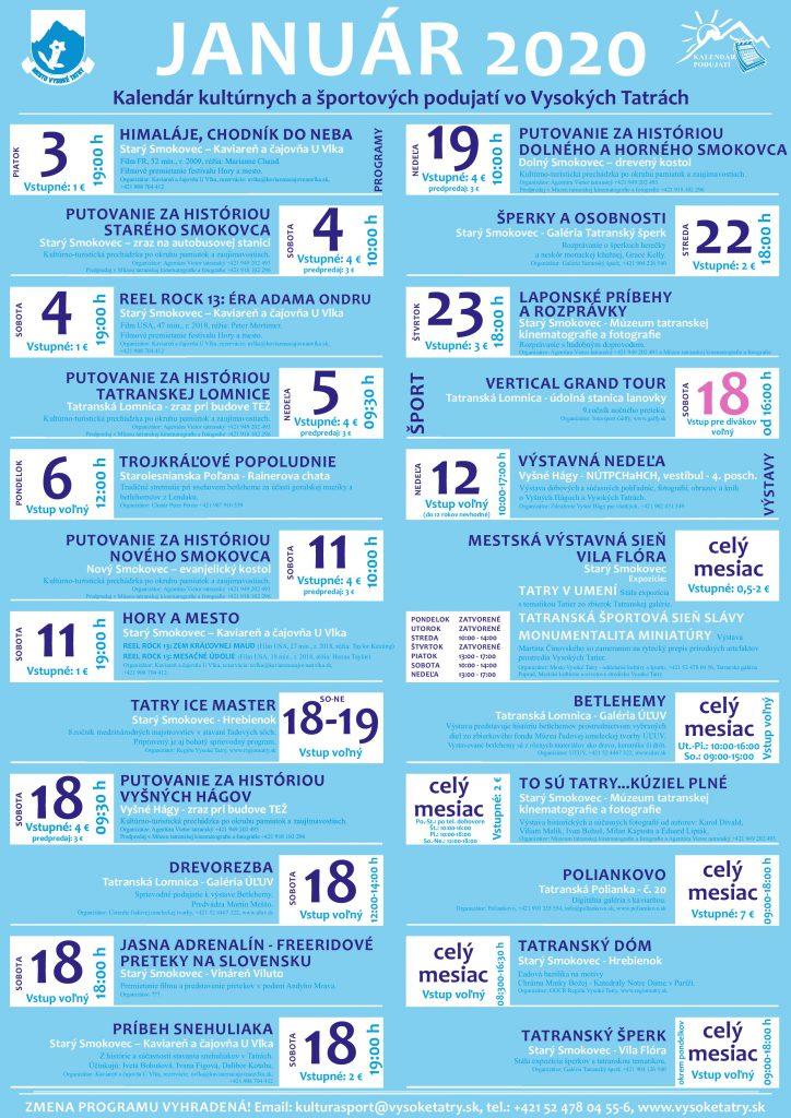 Kalendár podujatí vo Vysokých Tatrách